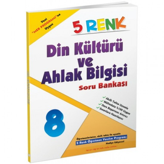 5 Renk Yayınları - Din Kültürü ve Ahlak Bilgisi Soru Bankası 8. Sınıf