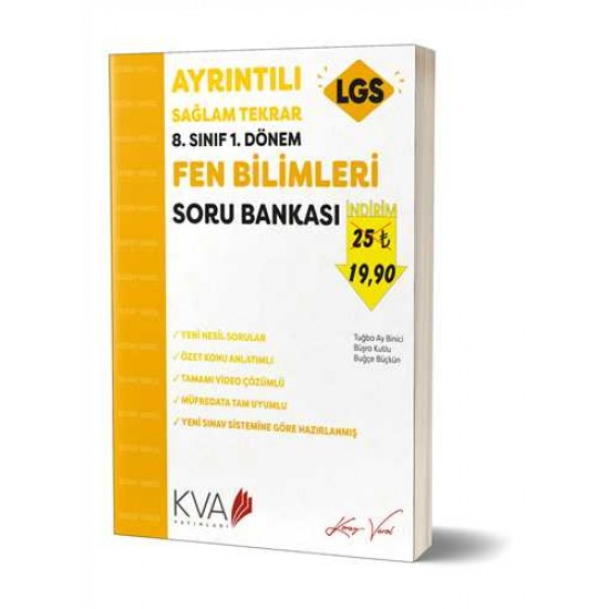 KVA Yayınları - 8. Sınıf 1.Dönem Ayrıntılı Sağlam Tekrar Fen Bilgisi Soru Bankası